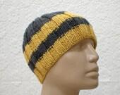 Ribbed beanie hat, charcoal, grey, mustard, yellow, striped knit hat, skull cap, chemo cap, biker hat, men's hat, women's hat, ski snowboard