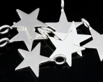 3KH-125 thai karen hill tribe handmade silver 6 small die cut star shape charm 12.0 mm.