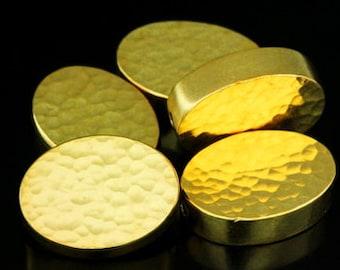 KG-041 thai karen hill tribe silver 2 gold vermeil hammered cylinder oval shaped bead