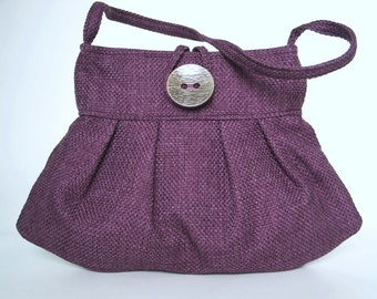 womens handbag, shoulder bag, purple purse,  purple handbag, retro bag, fabric handbag, pleated bag, small tote bag