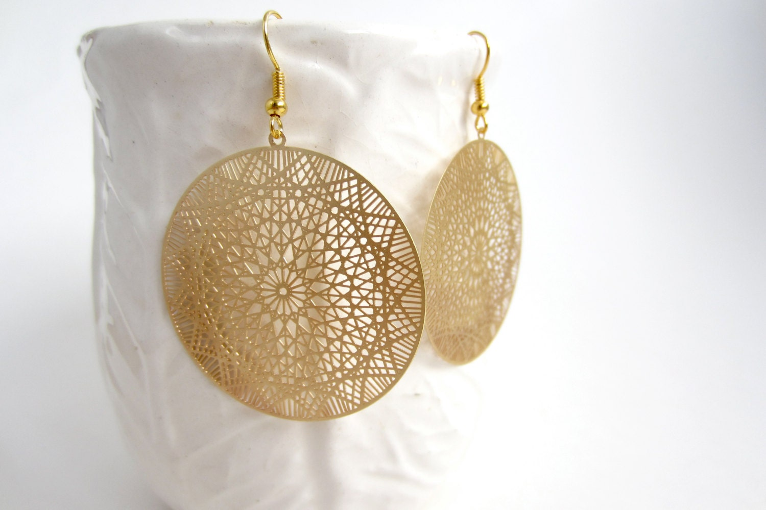 gold filigree earrings delicate jewelry by sageandolivia
