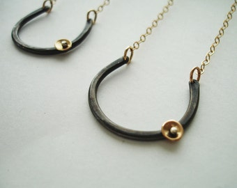 Lucky Horseshoe Black and Gold Charm Necklace FREE SHIPPING - Modern Simple Oxidized Recycled Silver with 14K gold fill disc accent