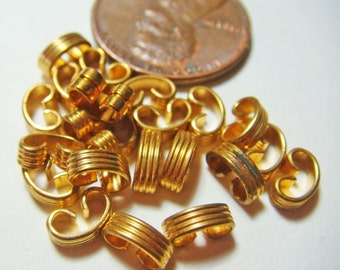 Brass Ribbed Bracelet Connectors for Filigree, Jump Rings, Jewelry etc. Lot of (50)  Vintage 6mm long jc bc3r MORE AVAILABLE