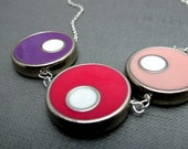 """CLEARANCE - Colorful Bubbles Sweet Pink Necklace // Silver Tone Circles // 17"""" Silver Chain // Bright Colors Rainbow"""