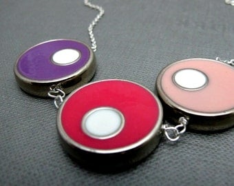 "CLEARANCE - Colorful Bubbles Sweet Pink Necklace // Silver Tone Circles // 17"" Silver Chain // Bright Colors Rainbow"