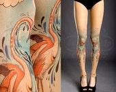 Tattoo Strumpfhose - Akt Einheitsgröße Flamingo Liebe voller Länge footless gedruckt Strumpfhosen / Strumpfhose / Tattoosocks /