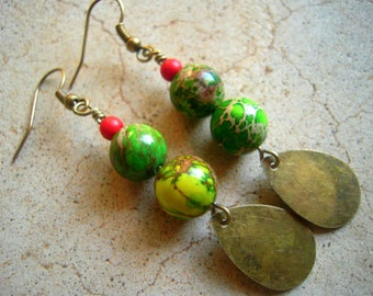 Moss Green & Brass Earrings Dangles Short Earrings