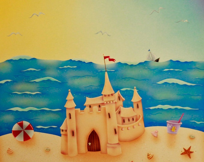 BEACH HOUSE Framed Art Print | Sand Castle Acrylic Painting | Beach Cottage Wall Art | Seaside Colorful Print | Valerie Walsh Art | 12x12