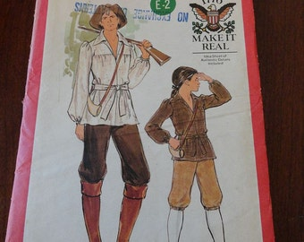 Vintage 70s Butterick 4209 Mens Shirt Belt and Knickers Pattern Colonial Frontiersman Costumer Pattern size 38