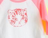 SALE | Neon Pink Kitty Cat Raglan Tee - Baby and Kids Sizes