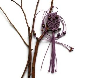 Mauve Macrame Owl Necklace