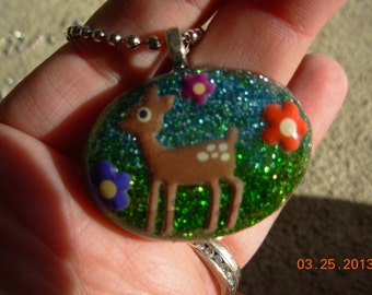 Baby Fawn  Resin Necklace