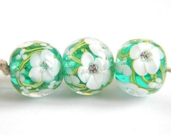 Teal and White Encased Florals - Lampwork Glass Beads - MADE TO ORDER
