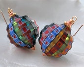 Venetian Murano Blown Millefiori Sculpted Round Earrings