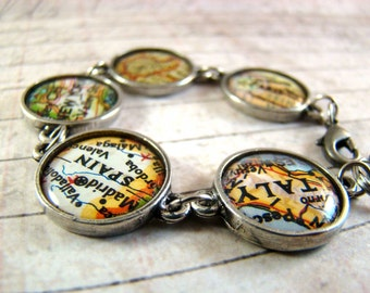 Map Charm Bracelet - I Love You Around The World and Back - You Choose The Journey
