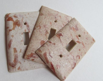 Decorative Onion Skin Light Switch Plates, Handmade paper from onion skins and cotton T-shirts, earth friendly wall art