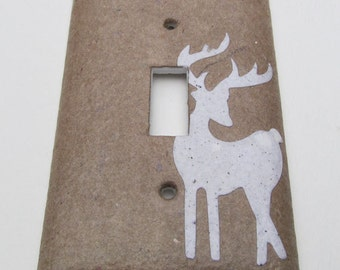 Deer Upcycled Light Switch Plates, handmade paper from broken brown bag, with junk mail deer-Recycled Handmade Paper