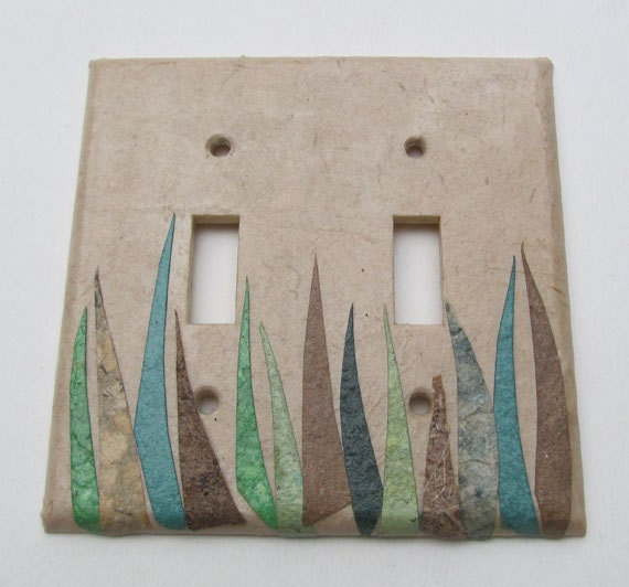 Decorative grass wall decor light switch plates upcycled with for Decor light switch
