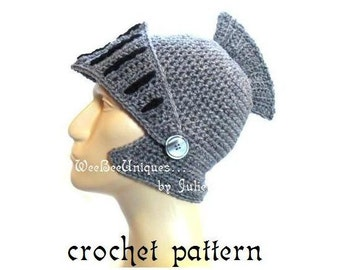 crochet pattern digital download knight helmet hat children & adults