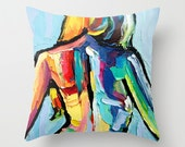Pillow cover labstract figure art by Aja 16x16 or 18x18 Femme 174