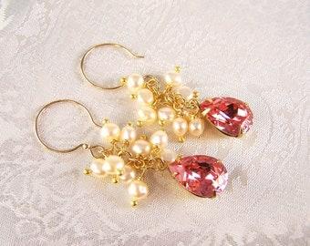 Rose Peach Crystal and Cream Pearl Earrings