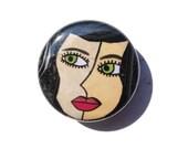 Woman Art Magnet, Pinback...
