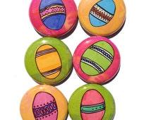 Easter egg magnets or pinback buttons set - spring holiday fridge magnets, pins, magnet set, 1 inch