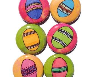 Easter Egg Magnets or Pinback Buttons Set - Spring Holiday Fridge Magnets or Pins