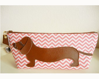 BBQ the Dachshund Pink Chevron Stripes Vintage Inspired Cotton Canvas Carry All Case Vinyl Applique
