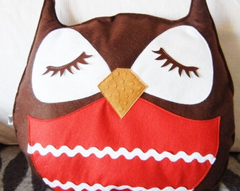 Brown Stewart the Owl Red Belly Vintage Inspired Wool Felt Applique Decorative Doll Pillow