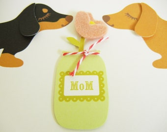 Teriyaki and BBQ the Dachshunds Dogs Mother's Day Felt Pink Flower Blank Note Card with Envelope