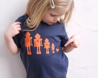 Childrens Personalised T shirt Robot Family