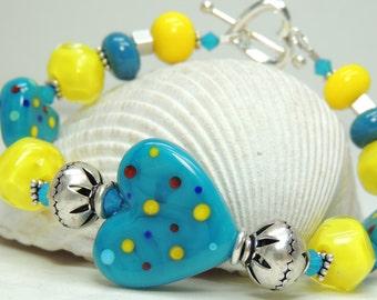 CARIBBEAN VACATION Handmade Lampwork Bead Bracelet