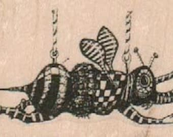 rubber  stamp  Bee Hung up     original design mary vogel lozinak 19164  zentangle stamping supplies circus