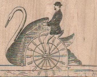 Rubber stamp Steampunk SwanShip 4 1/4 x 3oddity Mounted  scrapbooking supplies  18160