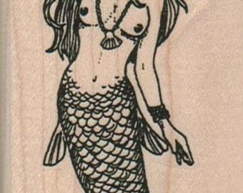 Mermaid     rubber stamps place cards gifts  wood mounted 18001