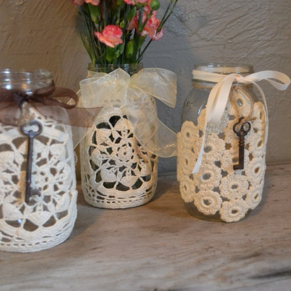 vintage style ball jars wedding decor burlap by