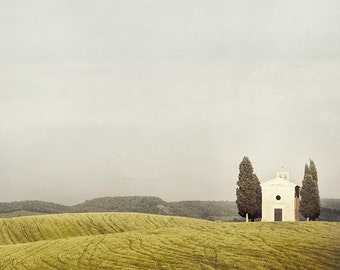"Rustic Decor, Italy Photography, Rural Tuscany Landscape, Minimalist Fine Art Photography, White Yellow Chapel in Autumn  ""Pastoralia"""