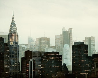 NYC Skyline, Modern New York Photography, Chrysler Building Wall Decor, Black Green Wall Art, Mad Men Home Decor - Urban Vernacular