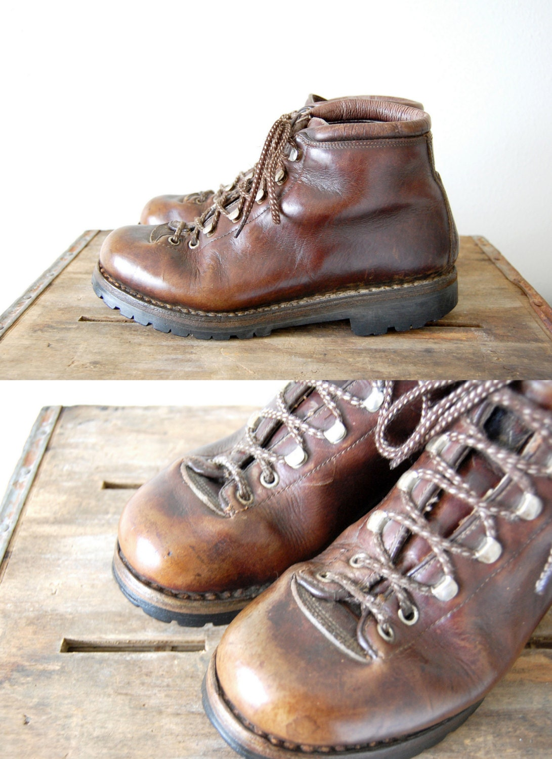 Vintage Fabiano Rio Boots Mens Brown Leather Hiking Boots