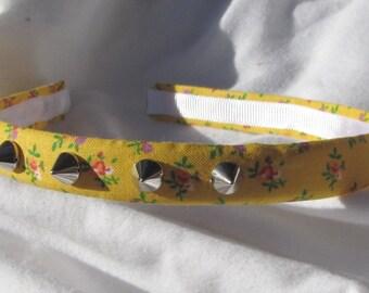 Yellow Rose Spiked Headband 1/2