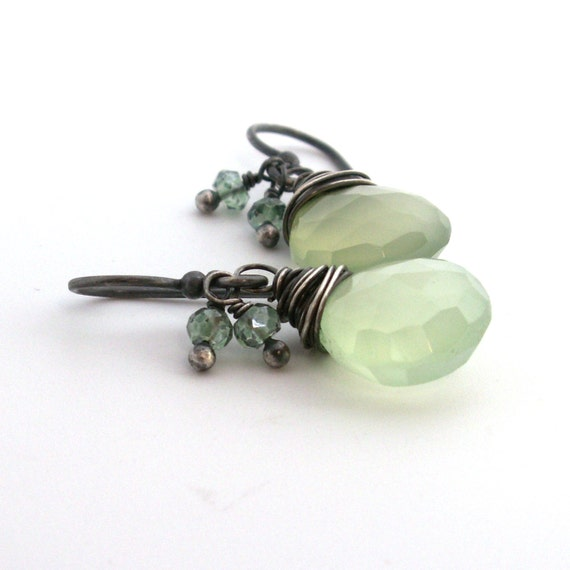 RESERVED Wintergreen Chalcedony Earrings . Green Mystic Quartz . Sterling Silver
