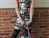 Black and Silver Paintbrush mini dress