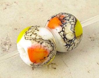 Artisan Handmade Lampwork Glass Bead Pair Yellow Orange White 14x11mm Candy Corn