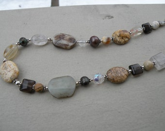 Necklace Multi Gemstone - one of a kind mother earth- neutral colors - gift under 75 - jewelry trend summer fashion