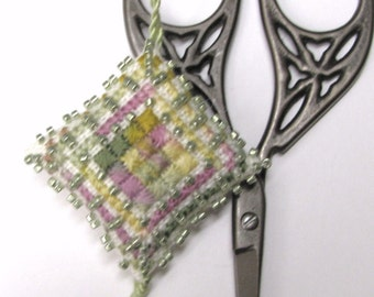 Easter Morning Scissor Fob Pin Cushion Ornament Completed Beaded Cross Stitch