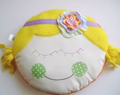 ROUND pillow for kids - Pillow Baby - Lucy Flower Girl - Round Yellow and Purple - PILLOW for girls baby toddler