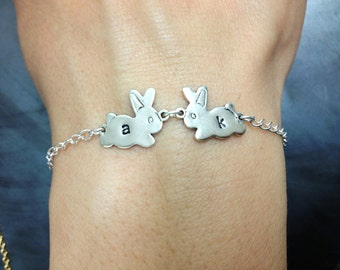 Initial 2 Bunnies Bracelet Silver Bunnies with Silver Chain