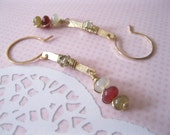 Shiny Brass Bar Rainbow Soocho Jade Earrings