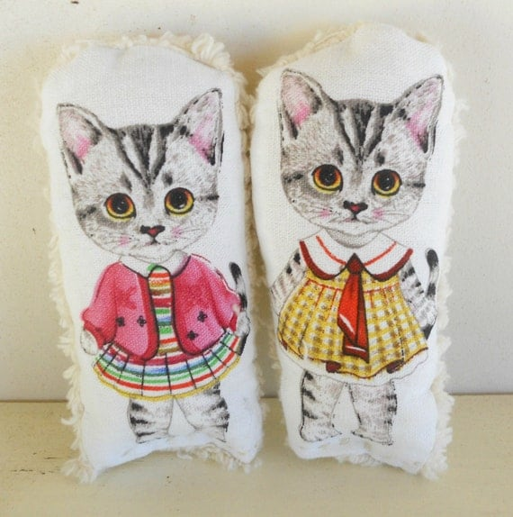 Childs Pillow, Soft Toy, Cat Doll, All Natural, Dollhouse Toy, Set of Two